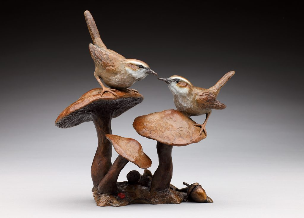 Woodland Encounter - Diane Mason - Wrens and Mushrooms