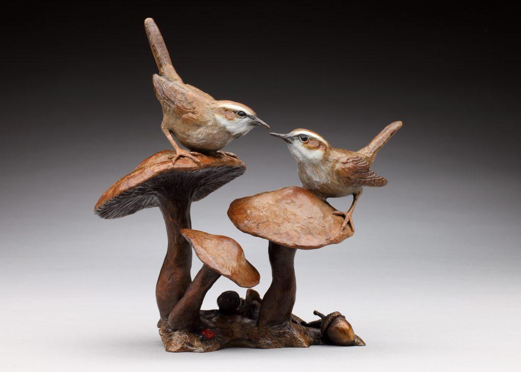 Woodland Encounter - Diane Mason - Wrens and Mushrooms