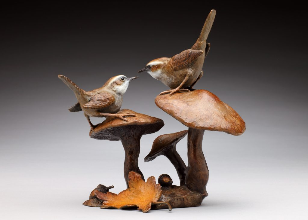 Woodland Encounter - Diane Mason - Wren and Mushroom