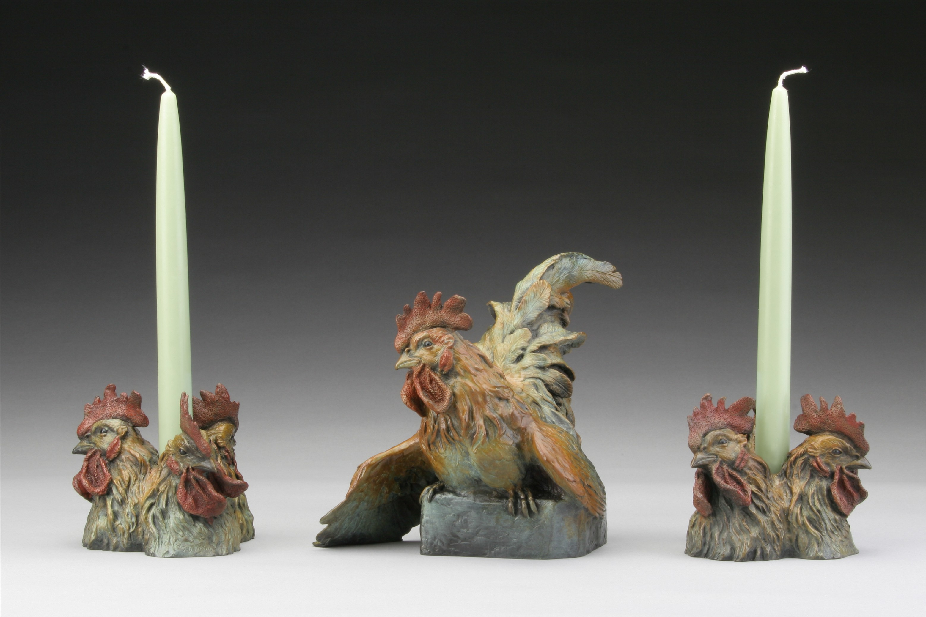 Bantam Rooster and Candles - Diane Mason - Bantam Rooster and Candles